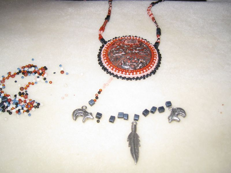Beaded cab necklace